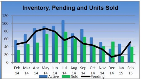Inventory Pending and Units sold Feb 2014-2015 Big